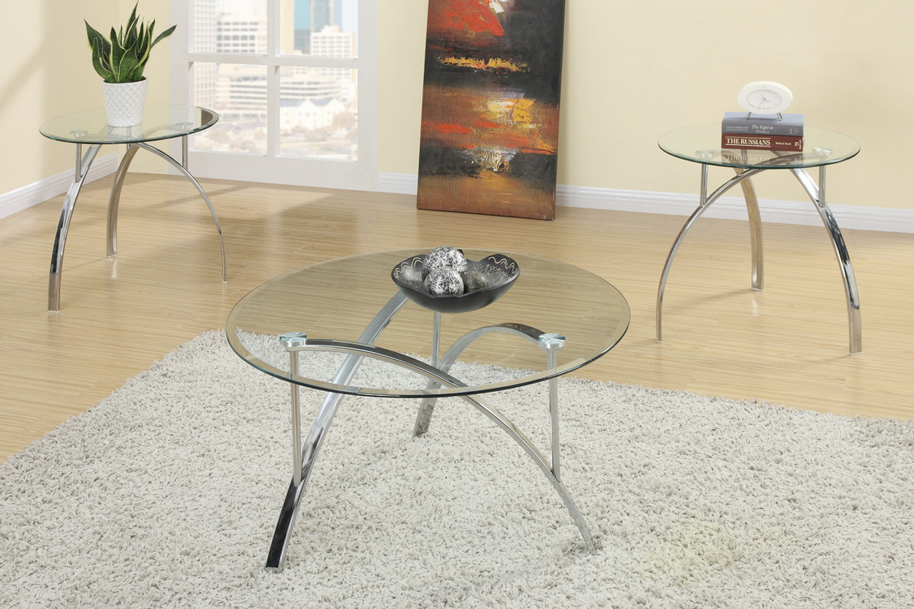 - 3-P C S Coffee Table Set With Tempered Glass (F3098) - Exquisite