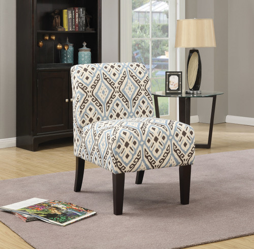 The Ollano Accent Chair W/ Pattern Fabric (Blue) Finish