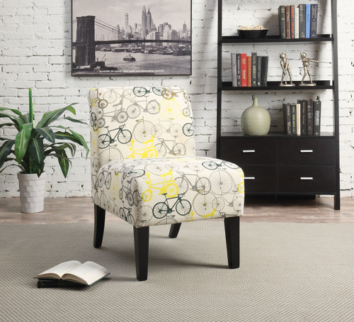 The Ollano Accent Chair W/ Pattern Fabric (Bike) Finish