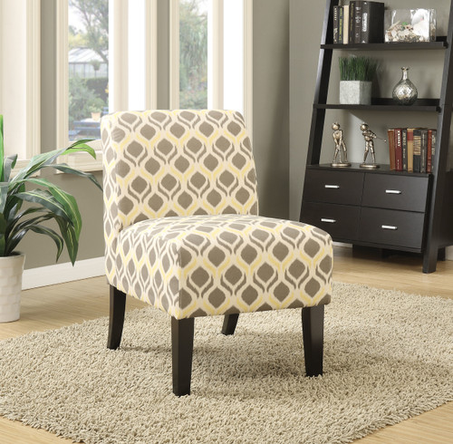 The Ollano Accent Chair W/ Pattern Fabric (Gray & Yellow) Finish