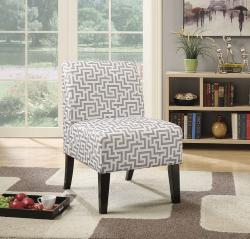 The Ollano Accent Chair W/ Pattern Fabric (Gray) Finish