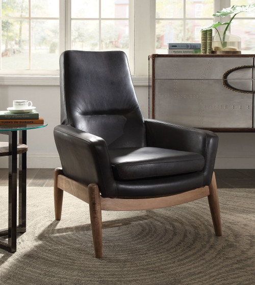 The Dolphin Accent Chair W/ Black TGL Finish