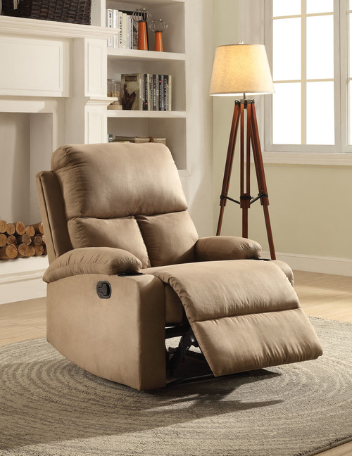 The Rosia Recliner (Motion) W/ Light Brown Microfiber Finish