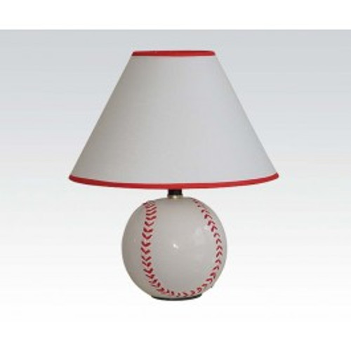 """The All Star Baseball Table Lamp  is made from ceramic, this lovely light baseball-shaped body showcases a classic white finish with textured red stitching, resonated in the design of its crisp empire shade. The sports theme inspired lamp is made out of a premium quality material. -15""""H"""
