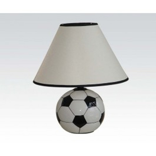 """The unique Soccer All Star Table Lamp Soccer ball will bring a new fresh appearance to any room with an unusual style. Add more coziness and sport mood to your room interior. Soccer fans will love this sporty lamp set, featuring a tapered shade and a themed base with a soccer ball and other game time design elements.  -15""""H"""