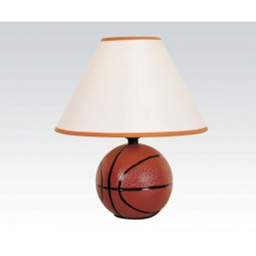 """The unique Basketball All Star Lamps will be a perfect attachment to any designed room with their original beauty. Basketball fans will love this sporty lamp set, featuring a tapered shade and a themed base with a basketball and other game time design elements.  -15""""H"""