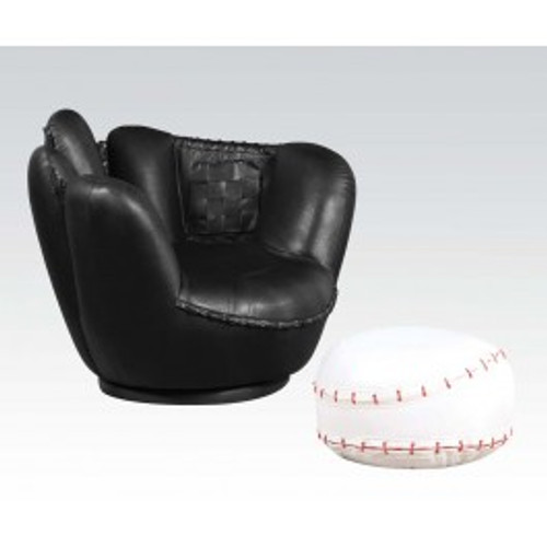 """Surprise your little fan with this All Star Swivel Chair and Ottoman. The comfortable and stylish swivel arm chair and matching ottoman are upholstered in durable and easy to clean upholstery. • 2-Piece Pack • Padded Swivel Chair & Ottoman • Youth Chair and Ottoman • All Star Design: Baseball GloveSwivel Chair: 36"""" x 30"""" x 29""""H, Ottoman: 17""""Dia x 10""""H"""