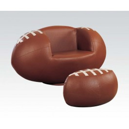 """Surprise your little fan with this All Star Swivel Chair and Ottoman. The comfortable and stylish swivel arm chair and matching ottoman are upholstered in durable and easy to clean upholstery. • 2-Piece Pack • Padded Swivel Chair & Ottoman • Youth Chair and Ottoman • All Star Design: FootBallSwivel Chair: 45"""" x 27"""" x 23""""H, Ottoman: 22"""" x 13"""" x 13""""H"""