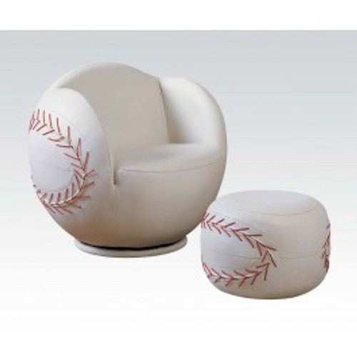 """Surprise your little fan with this All Star Swivel Chair and Ottoman. The comfortable and stylish swivel arm chair and matching ottoman are upholstered in durable and easy to clean upholstery. • 2-Piece Pack • Padded Swivel Chair & Ottoman • Youth Chair and Ottoman • All Star Design: BaseballSwivel Chair: 29"""" x 29"""" x 26""""H, Ottoman:17""""Dia x 12""""H"""