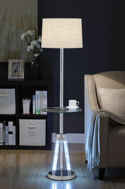 """Remarkably shimmering, this Cici sophisticated floor lamp will embellish your room to a whole new level. Designed with stylish and superiority in mind, the base is made from high quality acrylic and metal with SMD LED Module. The lamp holds LED light bulb and has 4-way rotary switch to increase its flexibility and functionality. With the luxurious chrome finish and light brown fabric drum shade, this lamp will blend perfectly in any décor. • Floor Lamp with Glass Table • 15""""Dia x 8mm Clear Tempered Glass • LED Light Bulb • Switch Type: 4-WAY Rotary Switch at bulb socket58""""H"""