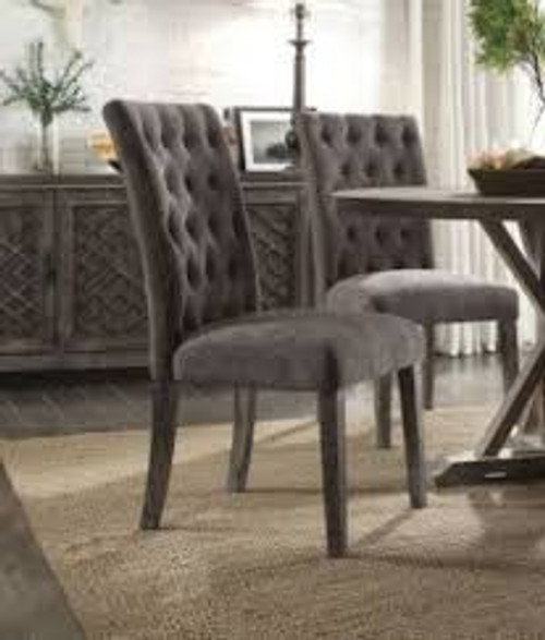 """- • Round Single Pedestal Table • No Storage • Extension: Fixed Top (NO Leaves) • Wooden Top & Single Pedestal • Armless Parson Chairs • Padded Seat & Back: Gray Velvet • Backrest: Button Tufed (Inside) • Wood Tapered Leg • Matching Server 7041839""""H ( Not included)"""