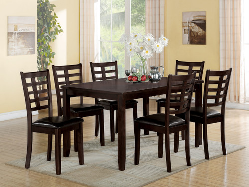 """The Tahlia 7Pc Pack Dining Set offers beautiful details with a versatility that enhances any dining area. This casual wooden table features a smooth rectangular top and tapered legs. The four matching armless chairs include comfortable padded seat cushion in Espresso Faux Leather, wooden backrest with grid design, and square tapered legs. All carefully crafted with selected woods and veneers in rich espresso finish. (Assembly Required) • 7 Pc Pack Dining Set • Rectangular Leg Table • 6 Armless Chairs • Padded Seat: Espresso PU • Wooden Tapered LegT: 36""""W x 60""""L, Side Chair: 38""""H"""