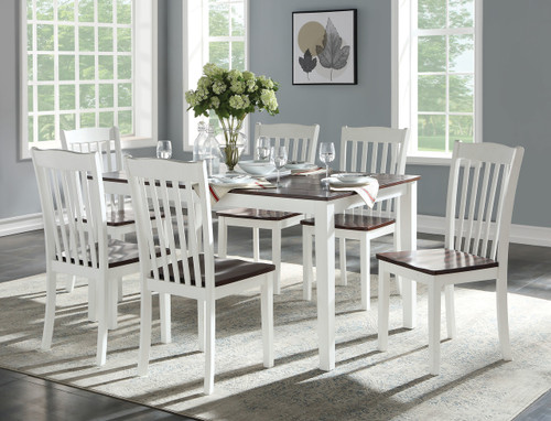 The Green Leigh Dining Set (7Pc Pk) W/ White & Walnut Finish