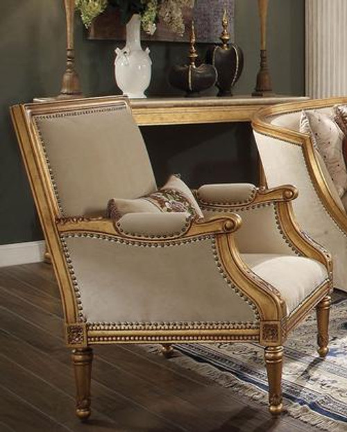 The Daesha Accent Chair & Pillow W/ Fabric & Antique Gold Finish