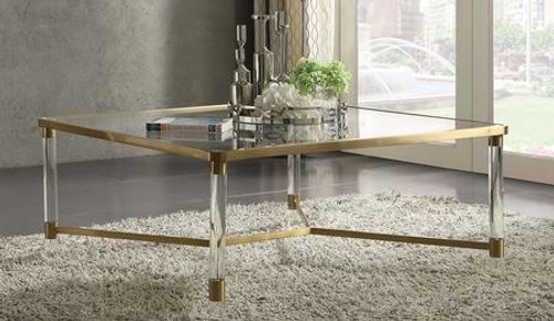 """Occasional Table NO Storage Glass Top: 5mm Clear Tempered Glass Acrylic Round Leg Frame: Gold Stainless Steel 39"""" x 39"""" x 17""""H"""