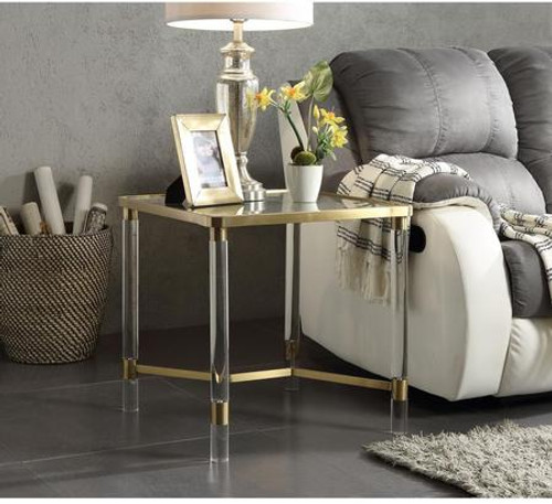 """Occasional Table  NO Storage Glass Top: 5mm Clear Tempered Glass Acrylic Round Leg Frame: Gold Stainless Steel 20"""" x 20"""" x 24""""H"""