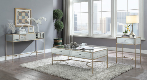 The Wisteria Coffee Table W/ Mirrored & Rose Gold Finish
