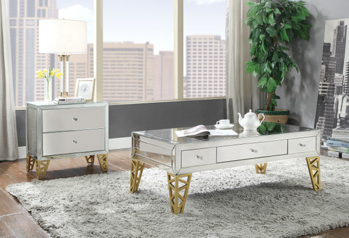 The Stephen Coffee Table W/ Mirrored & Gold Finish