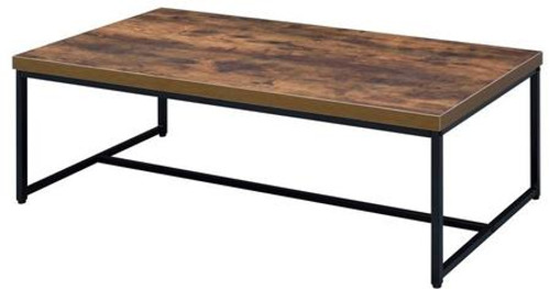 """The Bob occasional tables simply states that you are up with the times, with its industrial looks and the mixing of black metal with weathered oak. The thicker wood top is supported by lighter scaled black metal lags and an stretcher which assures for a sturdy surface. A design sure to last for many years, it will create a perfect space in your home.  Rectangular Occasional Tables  Wooden Top: Weathered Oak  Metal Leg: Black Finish  Collection Bob: 80615 Occasional, 91780 TV Stand, 92396 Desk, 92399 Bookshelf 47"""" x 24"""" x 16""""H"""