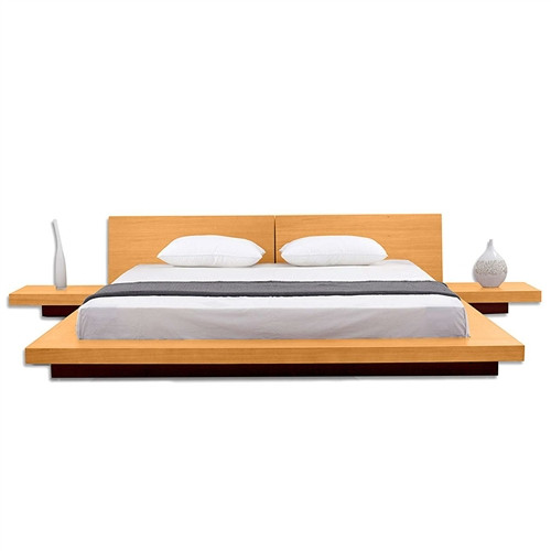 California King size Modern Platform Bed with Headboard and 2 Nightstands in Oak