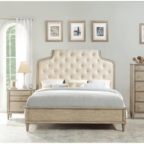 The Wynsor Eastern King Bed W/ Fabric & Antique Champagne Finish