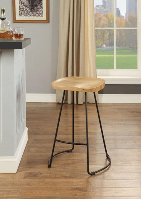 The Fidelis Counter Height Stool (Set-2) W/ Natural & Black Finish