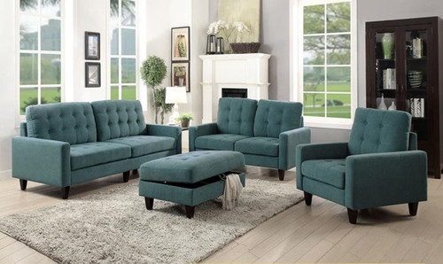 The Nate Loveseat W/ Teal Fabric Finish