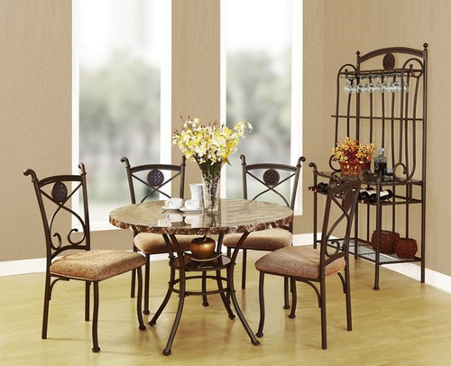 The Kleef Dining Set (5Pc) W/ Brown Faux Marble & Dark Bronze Finish