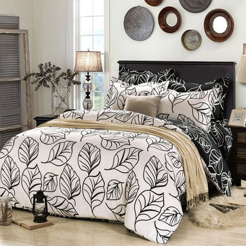 Fashionlife Black and White Leaves Solid Simple Style 3PCS Duvet Cover Set Soft Polyester for King Size