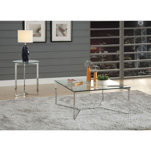 Volusius Coffee Table w/ Stainless Steel & Clear Glass