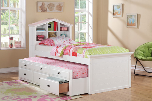 ( Youth) White  Twin Tundle Bed W/ Drawer Storage