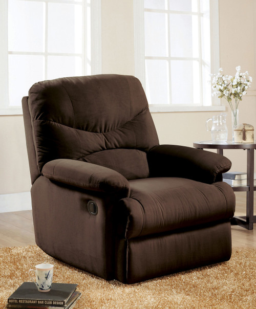 • Motion Glider-Reclining Mechanism • Tight Seat & Back Cushion • Armrest: Pillow Top • Microfiber Fabric • External Latch Handle • Optional Colors • Assembly Required ••• Clearance between Recliner and Wall: 12 Inches (300mm)
