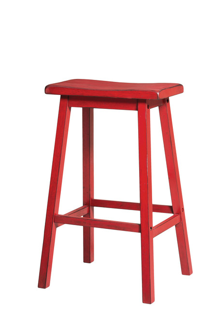 The Gaucho Bar Stool (Set-2) W/ Antique Red Finish