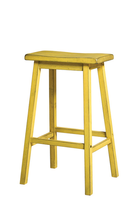 """The Gaucho Stool Collection offers casual style, simple clean lines with a versatility perfect for any small dining space. Features wooden saddle seat, wooden square legs and footrest supports. Crafted from solid hardwoods with a touch of distress finish. (Assembly Required) • Wooden Stools (Armless/Backless) • Wooden Saddle Seat • Wooden Square Legs • Distress Finish29""""H"""