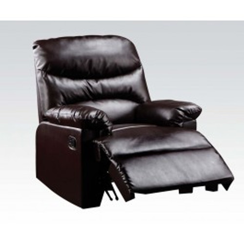 """The lovely Arcadia recliner offers comfort, style and value for any home. A smooth Bonded Leather seat cushion provides relaxation from seat to toe with an easy to reach external handle for operating the reclining mechanism. • Motion Reclining Mechanism • Tight Seat & Back Cushion • Armrest: Pillow Top • Bonded Leather • External Latch Handle • Optional Colors • Assembly Required ••• Clearance between Recliner and Wall: 2.3 Inches (60mm)35""""L x 35""""D x 40""""H"""