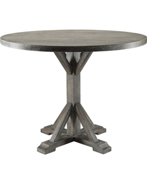 """This beautiful Carmelina dining table with chairs and a server set boasts of fantastic design with extreme curves and sculpted shapes, matched veneer table top, wooden tapered legs, geometric lattice inlay server and weathered gray oak finish makes this set definitely will become an eye-catch one in your dining room. • Round Single Pedestal Table • No Storage • Extension: Fixed Top (NO Leaves) • Wooden Top & Single Pedestal • Armless Parson Chairs • Padded Seat & Back: Gray Velvet • Backrest: Button Tufed (Inside) • Wood Tapered Leg • Matching Server 70418 Sold Separately48""""Dia"""