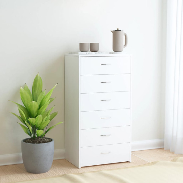 """Sideboard with 6 Drawers White 23.6""""x13.4""""x37.8"""" Chipboard"""