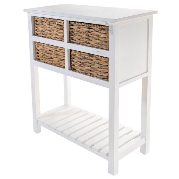White Wooden Accent Table with 4 Basket Weave Drawers and Bottom Shelf