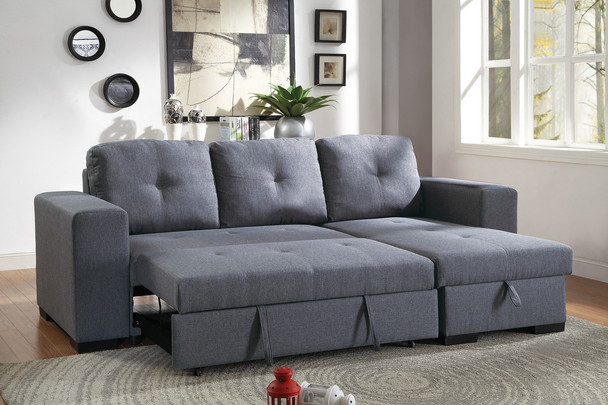 Blue Grey Convertible Sectional