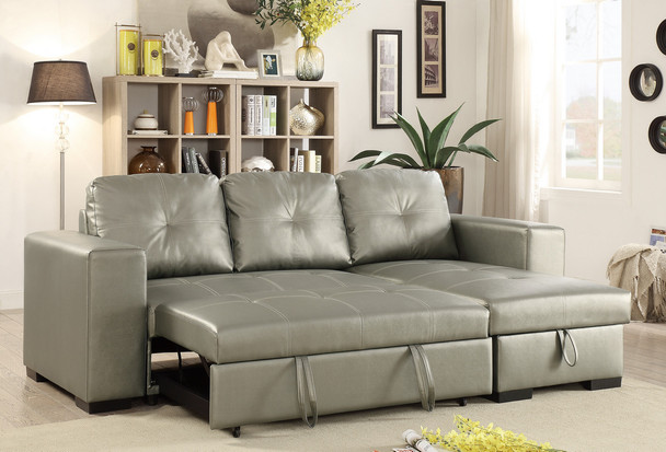 Silver Convertible Sectional