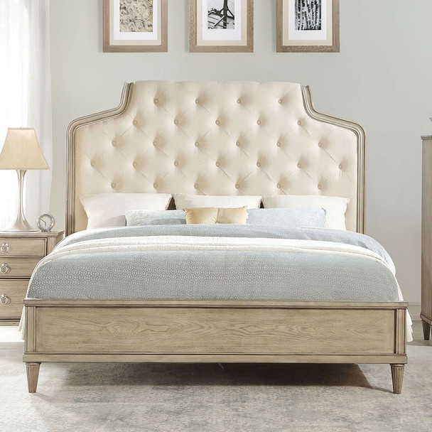 The Wynsor Queen Bed W/ Fabric & Antique Champagne Finish
