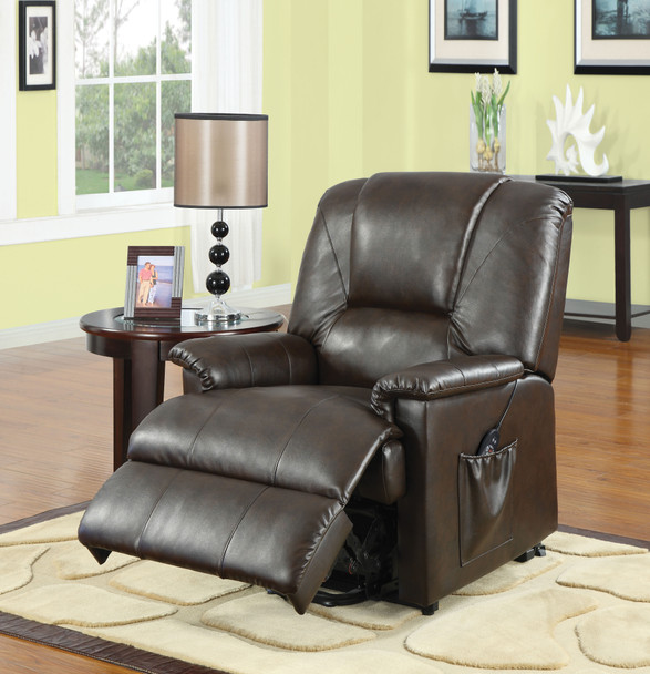 The Reseda Recliner w/Power Lift & Massage W/ Brown PU Finish