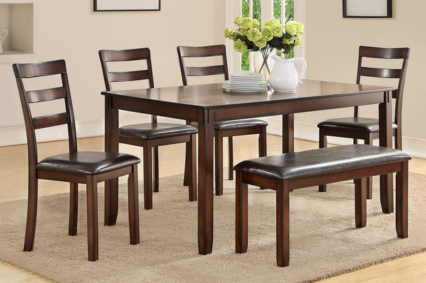 Tremendous Espresso 6 Pcs Dining Set W Bench Ibusinesslaw Wood Chair Design Ideas Ibusinesslaworg