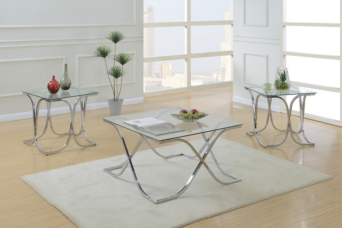 - 3-Pcs Chrome Coffee Table Set W/ Tempered Glass F3142 - Exquisite