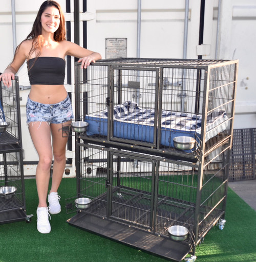 "37""  2 Tier Dog Cage"