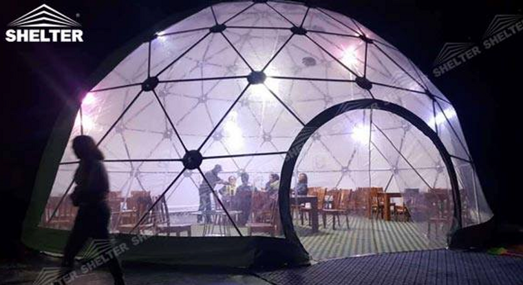 Shelter 5m Cafe Dome for drinking and dining.