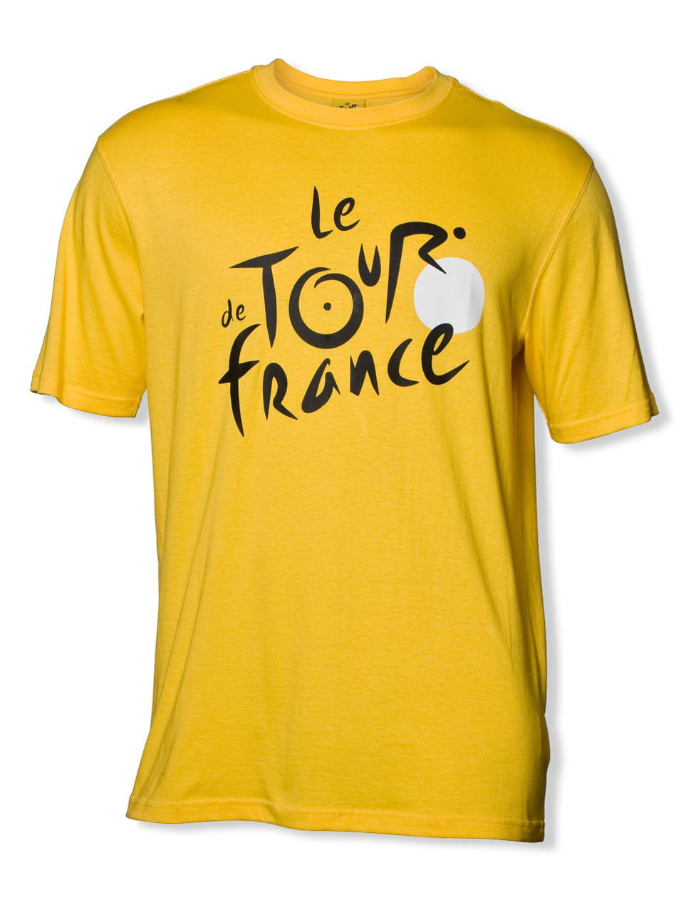 Le Tour De France Logo T Shirt In Yellow Adult Sizes Peak Cycle Wear