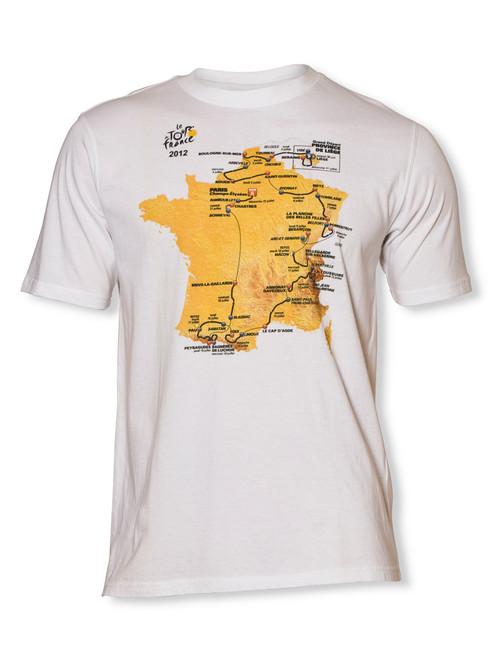 le Tour de France Official 2012 Course Map T-Shirt in white.