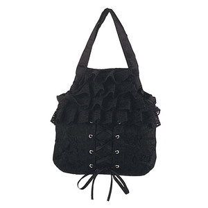Demonia Black Satin/Black Lace Overlay Handbag