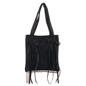 Demonia Black Satin/Black Rose Lace Overlay Handbag
